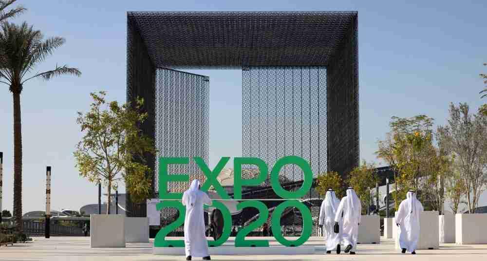 التوقيع الرسمي بمناسبة معرض دبي إكسبو 2020 في دبي. الصورة: كريم صاحب، وكالة الصحافة الفرنسية، غيتي إيماجز.
